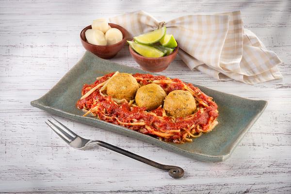 Wechef- Espaguete de Pupunha com Almondegas de Jaca - Vegano - 255 g